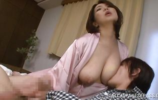 Pal licks admirable putz of cougar Mio Takahashi before pushing phallus into it