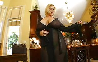 Racy blonde gf Samantha 38G with great natural tits rides a massive long sword