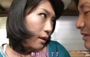 Dishy busty mature Kyoko Takashima is fucking bf whose dangler is always very hard in her presence