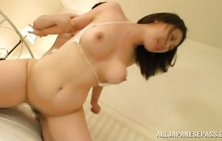 Gf Suzuna Komiya with wet pussy enjoys riding a hard dink