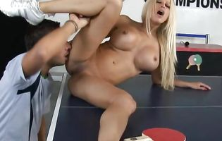 Alluring busty latina blonde Gina Lynn reaches a strong and massive orgasm