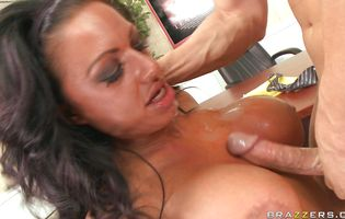 Sweet Kerry Louise over the chair and plowing her down