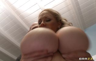 Prurient busty Katie Kox vigorously rides a hard meat member and she loves it