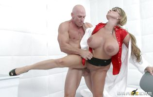 Prurient blonde Holly Halston with firm tits gets roughly spooned