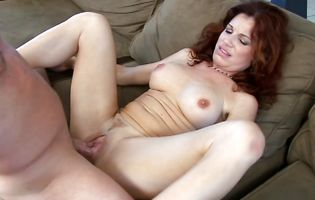 Cheerful redhead chick Hunter with impressive tits is getting a huge dink from the back
