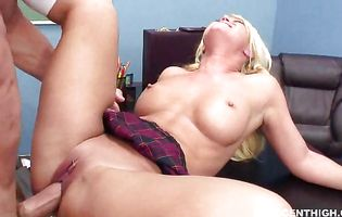 Curvaceous blonde whore Cayden Moore gets fucked roughly