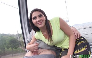 Alluring brunette Valentina Nappi with massive natural tits eagerly drools over a throbbing cock meat