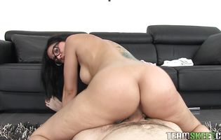 Sex appeal sweetie Julia De Lucia got filled up with a huge pole in a doggy style position