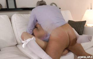 Cute chick Angel Piaf with great tits got doublefucked and enjoyed it more than usual